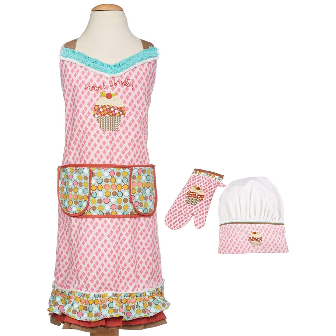 M-Aimee 8 Pieces Kids Apron and Chef Hat Set Red+Yellow+Blue+Purple Adjustable Cotton Child Aprons with 2 Pockets Kitchen Bib Aprons for Kitchen Cooking Baking Painting