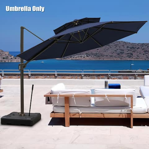 Pellebant 11.5 FT Double Top Patio Cantilever Umbrella, Base Not Included