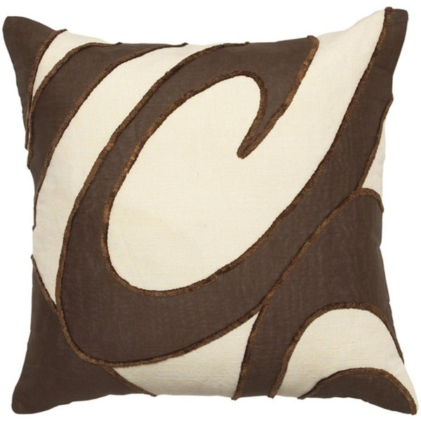 "22"" Parchment and Coffee Bean Brown Swirl Pattern Decorative Throw Pillow"