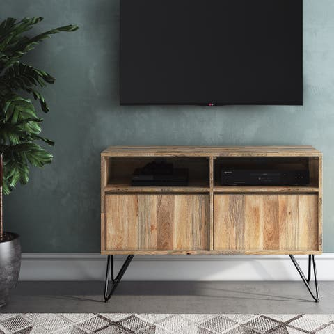 WYNDENHALL Moreno SOLID MANGO WOOD 42 inch Wide Industrial TV Media Stand in Natural For TVs up to 43 inches