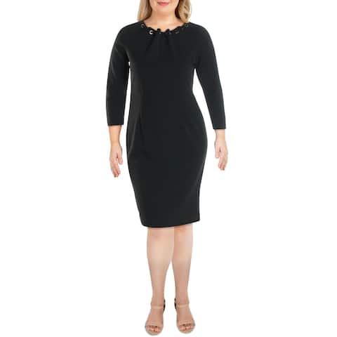 Spense Womens Wear to Work Dress Embellished Gathered Neck - Black