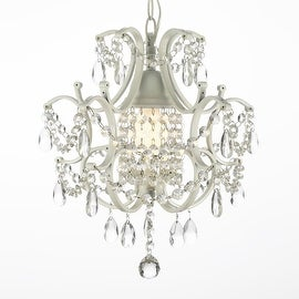 Wrought Iron and Crystal White Chandelier Pendant