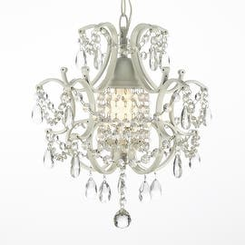 Wrought iron mini chandeliers for less overstock wrought iron and crystal white chandelier pendant aloadofball Gallery