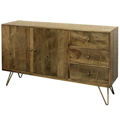 StyleCraft Sebastian Two Door, Three Drawer Credenza with Geometric Inlay Design and Hair Pin Legs