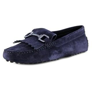 Tod's Gommini Morsetto Giuli Vern+Frangia Women Square Toe Suede Blue Loafer