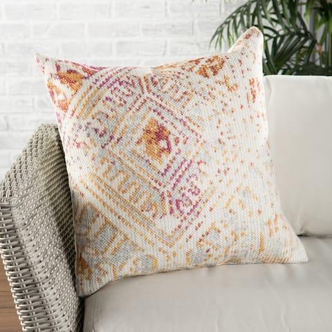 Nikki Chu Siva Indoor/ Outdoor Tribal Pink/ Gold Throw Pillow 22 inch