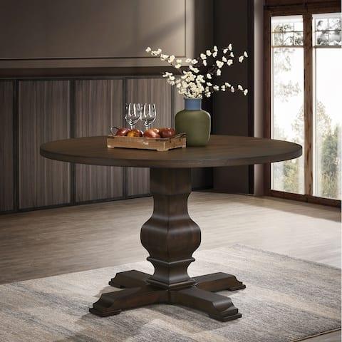 Havre Burnished Oak Finished Wood Pedestal Round Dining Table