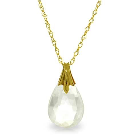 3 Carat 14K Solid Gold Joy's Rewards White Topaz Briolette Necklace