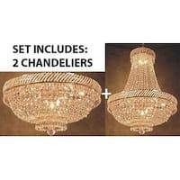SET OF 2 - Swarovski Elements Crystal Trimmed Chandelier French Empire Crystal And Flush Basket Chandelier Wi