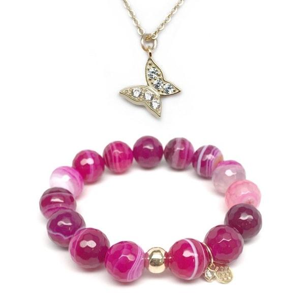 Fuchsia Agate Bracelet & CZ Butterfly Gold Charm Necklace Set