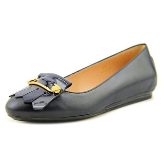 Tod's Gomma T85 UY Frania Spilla Women Round Toe Leather Blue Loafer