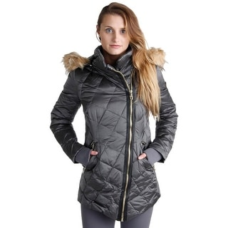 Steven By Steve Madden Womens Jacket Quilted Faux Fur