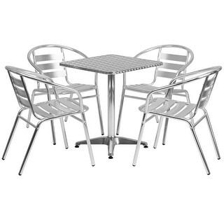 """Offex 23.5"""" Square Aluminum Indoor-Outdoor Table With 4 Slat Back Chairs"""