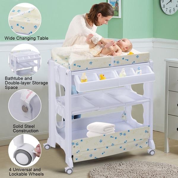 Costway Baby Infant Bath Changing Table Diaper Station Nursery Organizer Storage w Tube - White