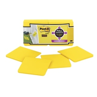 Post-it Full Adhesive Super Sticky Notes, 3 x 3 in, Bright Yellow, Pad of 25 Sheets, Pack of 12
