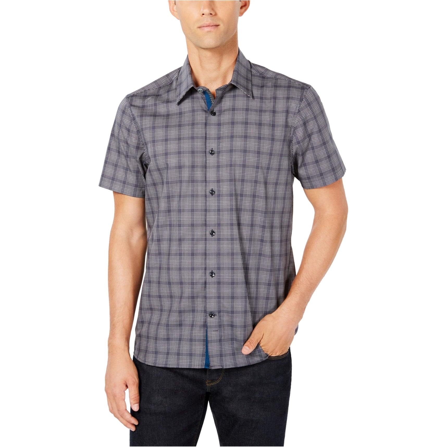 Ryan Seacrest Navy Mens Plaid Button Down Shirt