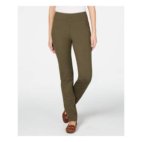 CHARTER CLUB Womens Green Solid Straight leg Pants Size 10 Short - 10 Short