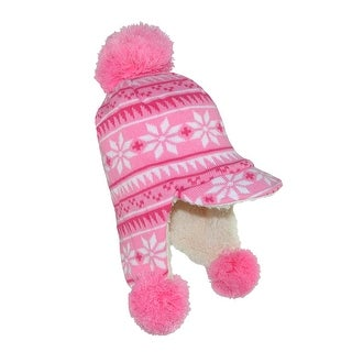 Jeanne Simmons Toddler Girls' Brimmed Trapper Hat with Poms