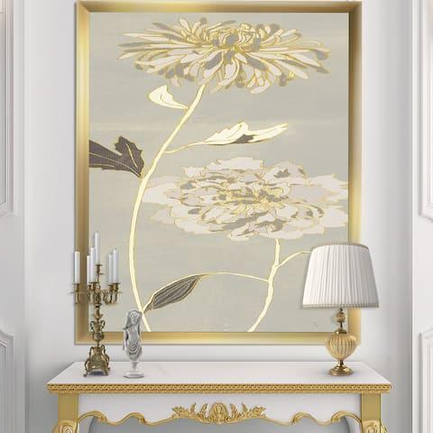 Designart 'Gold Metallic Floral Garden II' Modern Glam Framed Art Print