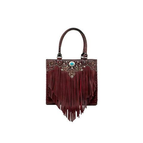Bandana Western Handbag Tote Fringe Faux Leather Zip Top - 13 x 11.5 x 4