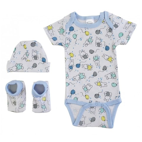 Bambini Baby Newborn Print Rib Knit Onesie, Knotted Cap & Booties Gift Set 3-Piece