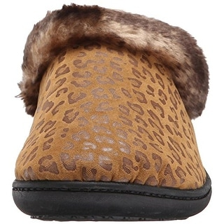 Isotoner Womens Microsuede Cheetah Print Clog Slippers