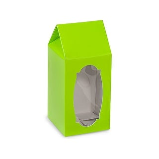 """Pack Of 6, Tall Size Solid Lime Green Gourmet Window Boxes 3-5/8 x 3-5/8 x 8"""" For Wrapped Candies, Pet Treats & Taller Gifts"""