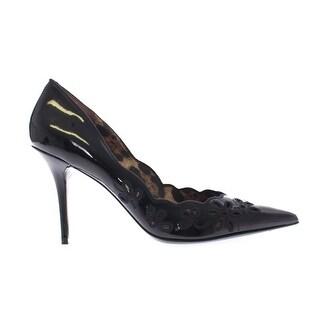 Dolce & Gabbana Black Leather Floral Classic Pumps Shoes - 41