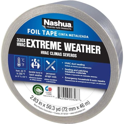 "Nashua 1087665 Extreme Weather HVAC Foil Tape, Silver, 2.83"" x 50.3 Yd, #330X"