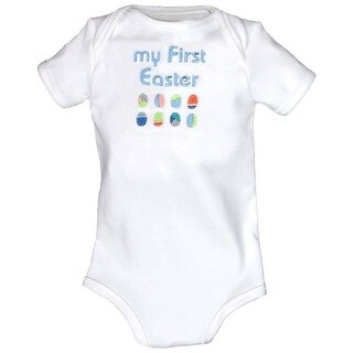 """Raindrops Baby Boys Blue """"My First Easter"""" Embroidered Bodysuit"""
