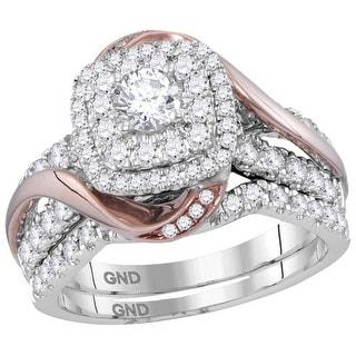 14k White Gold 2-tone Womens Natural Round Diamond Bridal Wedding Certified Ring Band Set 1 & 1/2 Cttw