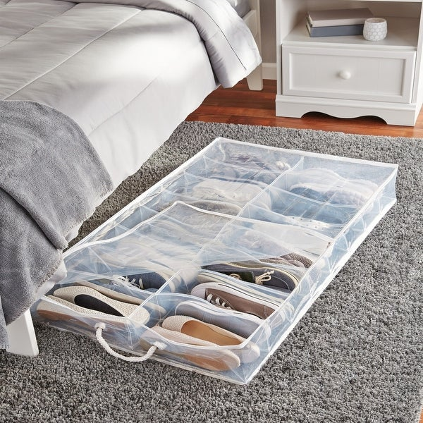 Under Bed Shoe Storage With Wheels Inspiration Shop Tidy Living PEVA Underbed Shoe Organizer Free Shipping On