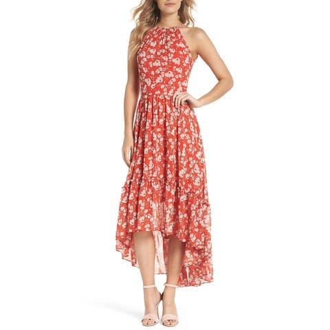 9e300676f69 Eliza J Red Women s Size 14 Floral Print High Low Sheath Dress