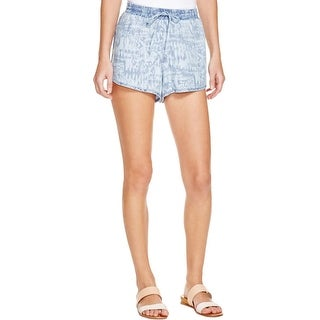 Bella Dahl Womens Casual Shorts Chambray Window Pane Blue L