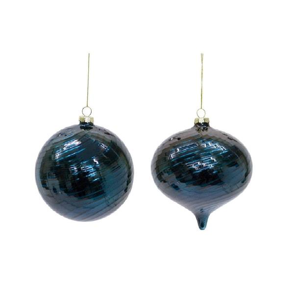 Pack of 12 Metallic Royal Blue Ball and Onion Drop Christmas Ornament Set