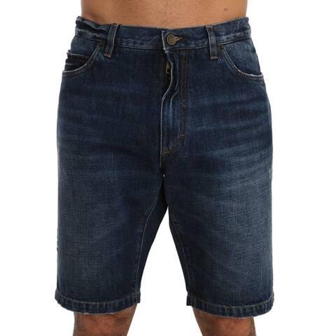 Blue Cotton Denim Men's Shorts