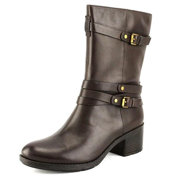 Bandolino Ursal Round Toe Leather Mid Calf Boot