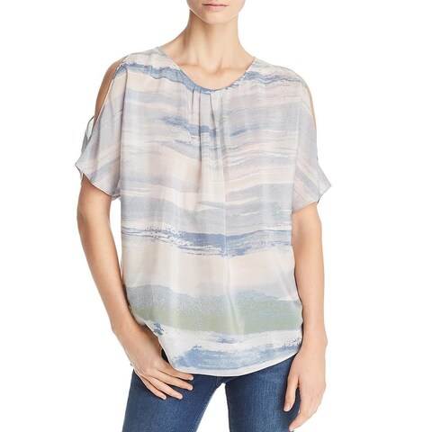 Nic + Zoe Womens Watercolor Blouse Silk Printed