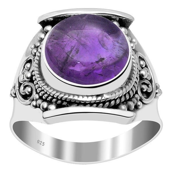 Multi Color Gemstones Sterling Silver Round Filigree Ring by Orchid Jewelry. Opens flyout.