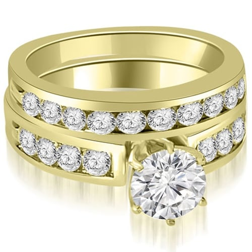 1.95 cttw. 14K Yellow Gold Round Cut Diamond Engagement Set