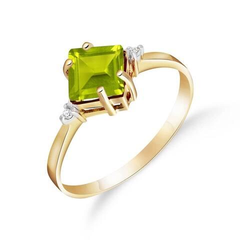1.77 Carat 14K Solid Gold Square Shape Green Peridot Diamond Ring