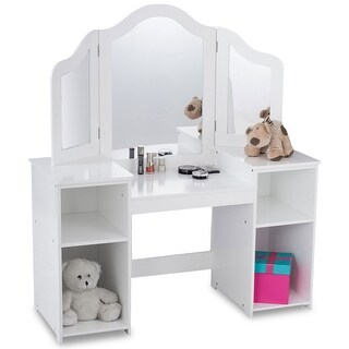 Costway Vanity Table Set Makeup Dressing Kids Girls Study Table Tri Folding Mirror