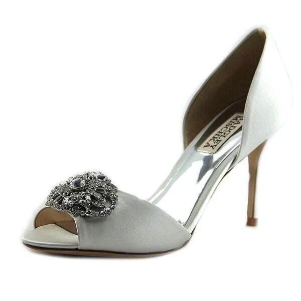 Badgley Mischka Dana Women Peep-Toe Canvas White Heels