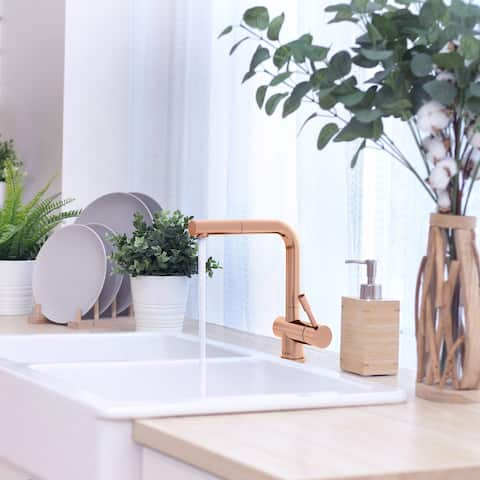 Nassau Collection. Pull-out head (no spray feature) kitchen faucet. Rose Gold finish. By Lulani