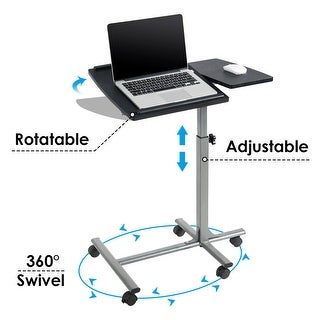 Costway Adjustable Angle & Height Rolling Laptop Notebook Desk Stand Over Sofa Bed Table - as pic