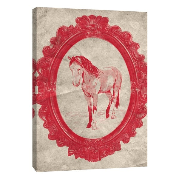 """PTM Images 9-108969 PTM Canvas Collection 10"""" x 8"""" - """"Framed Paint Horse in Crimson"""" Giclee Horses Art Print on Canvas"""