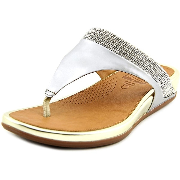 FitFlop Banda Women Open Toe Leather Silver Thong Sandal