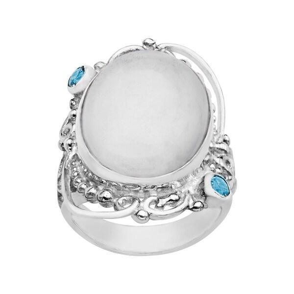 Sajen White Selenite and Blue Topaz Ring in Sterling Silver