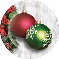 "Club Pack of 96 White, Green and Red Christmas Tree Ornaments Printed Dinner Plates 8.87"" - White"