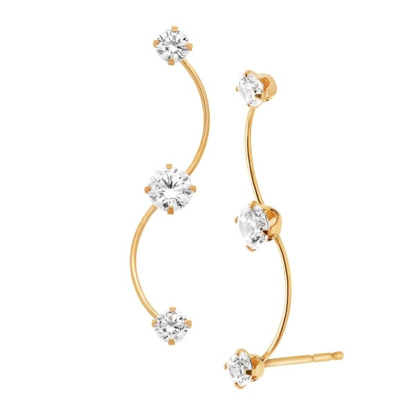 Ear Climber 'S' Shape Earrings with Cubic Zirconia in 14K Gold